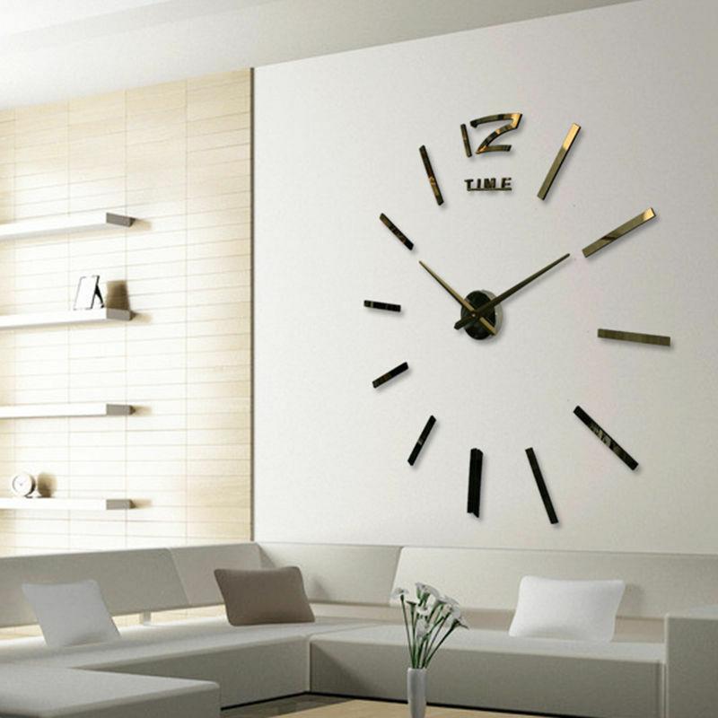 Reloj de números para pared grande con superficie de espejo 3D DIY, pegatina para decoración del hogar, espejo, sala de estar, diseño artístico, reloj de pared