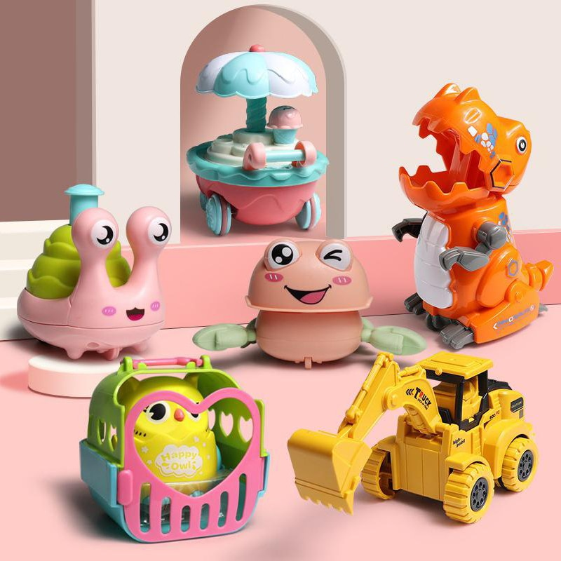Press Mechanical Sliding Toy Type Owl Classic Wind Up Toys Inertial Car Matching For Children's Return Inertial Toys Kids Gifts