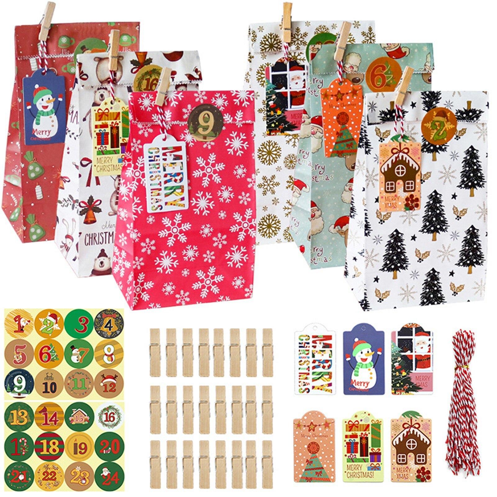 Bolsas de regalo Navidad 24 piezas bolsas de papel Kraft con 24 pegatinas de Navidad