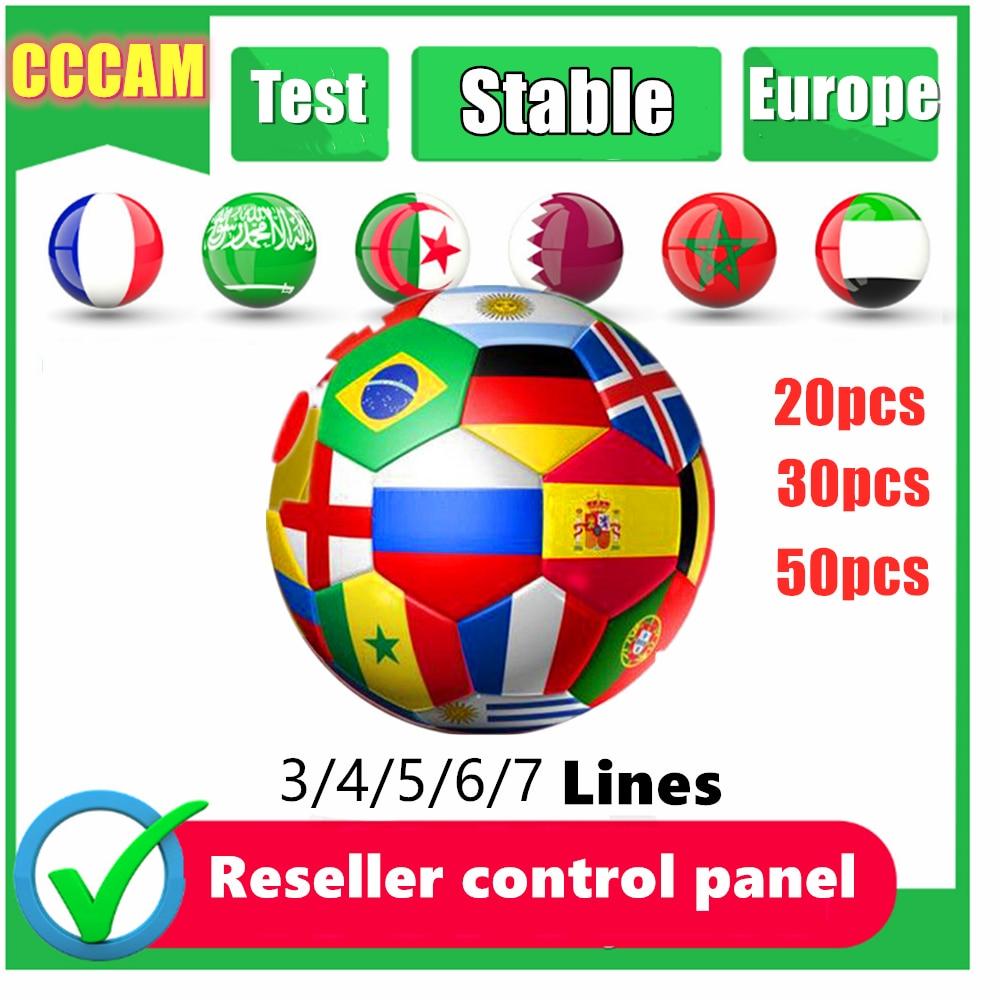 20 piezas CCCAM para Europa 7 líneas Ccams servidor estable Oscam España Portugal Alemania para Receptor satélite con panel de control de distribuidor