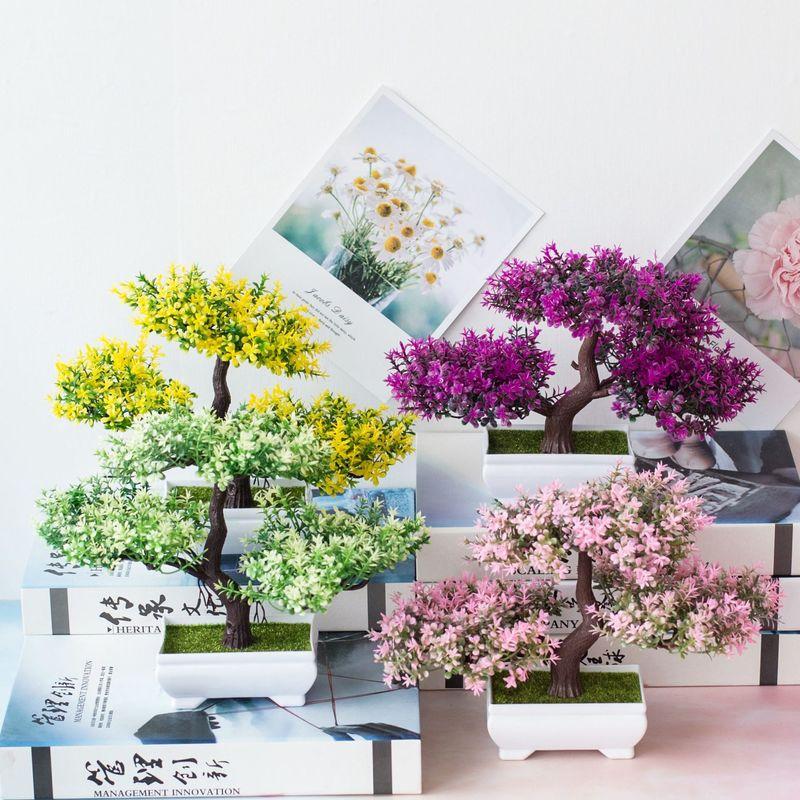 1Pc plantas artificiales bonsái pequeño Greenpine plantas simulación falso flores para la decoración de la casa Hotel decoración de jardín