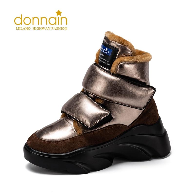 Botas de nieve DONNAIN de bronce con velcro para mujer, botas de invierno de lana abrigadas de ante de vaca, zapatos de punta redonda, calzado de plataforma de tacón grueso para mujer