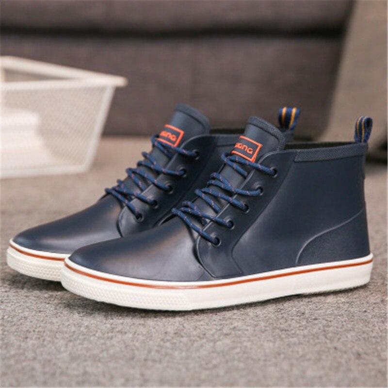 2020 Rainboots Antiderrapante Sapatos de Água Botas De Pesca Botas De Chuva De Borracha Curto Dos Homens Amantes Sapatos Homem Botas de Jardim tamanho 36- 44 preto azul