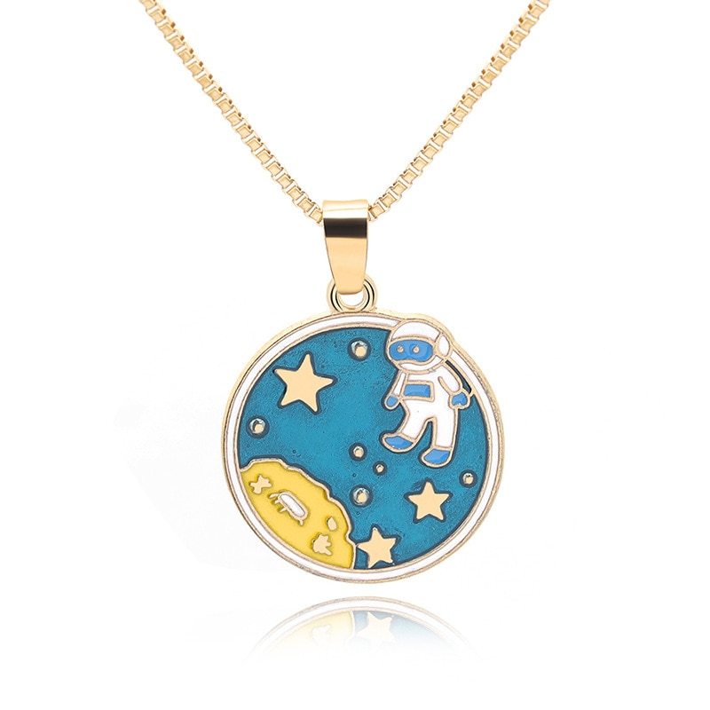 30 Colorful cartoon ocean starfish Crescent half moon geometry round astronaut space universe sun stars sky necklace jewelry