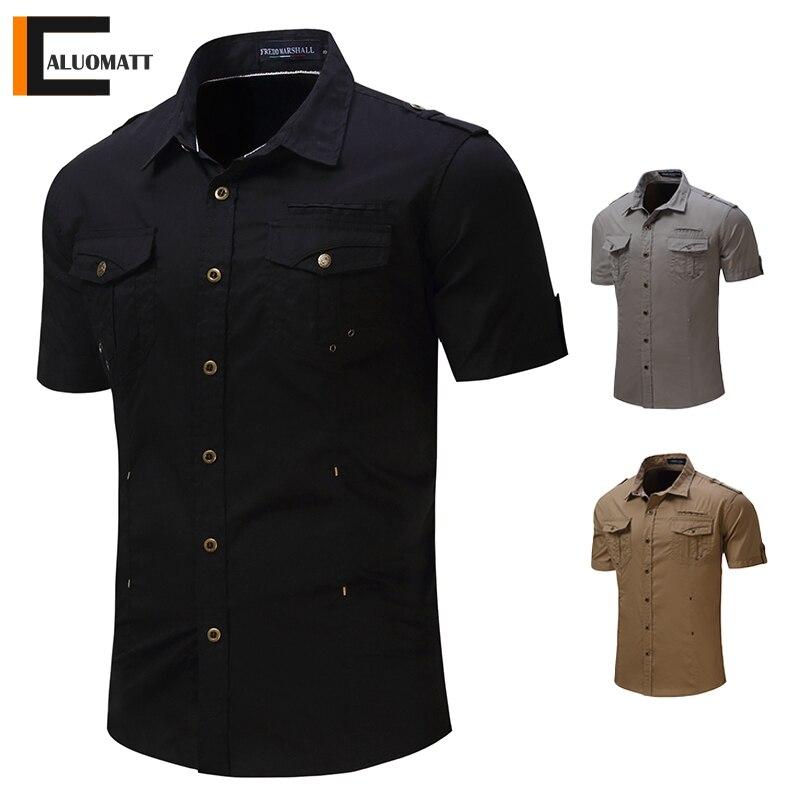 Men's Shirt 2021 New Men Military Cargo Shirts Men Short Sleeve 100% Cotton Casual Tops Summer Trend