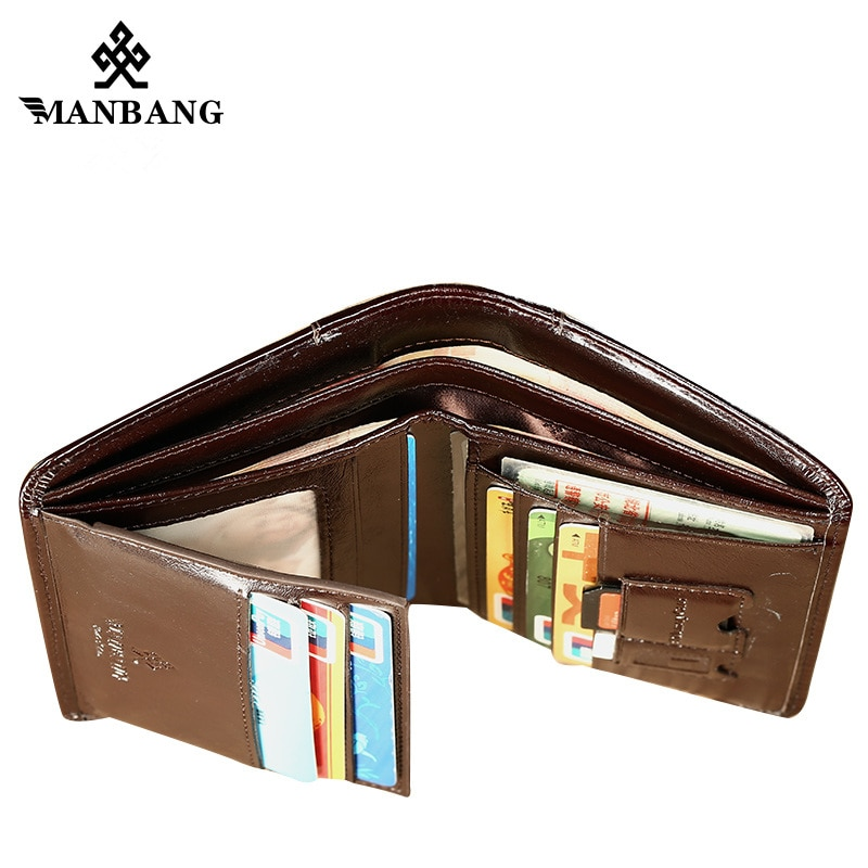 ManBang Male Genuine Leather Wallets Men Wallet Credit Business Card Holders Vintage Brown Leather Wallet Purses High Quality