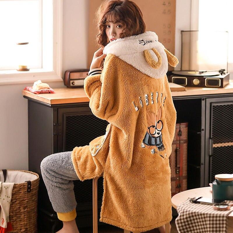 Pijama de Invierno para mujer, informal, mullido, lindo cachorro de dibujos animados, felpa, ropa de casa gruesa, Camisa larga femenina de Coral, pantalones, conjunto de dos piezas F2551