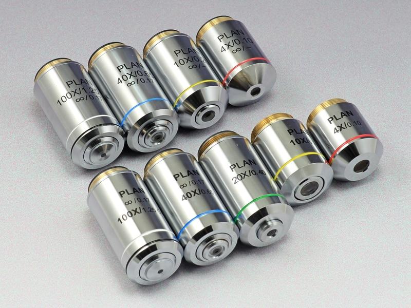 المهنية 4X 10X 20X 40X 60X 100X إنفينيتي خطة الهدف عدسة 195 الأهداف اللونية ل أوليمبوس المجهر