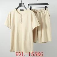 large size t shirt suit 4xl 9xl summer mens cotton short sleeved t shirt button shorts pocket elastic waist two piece suit