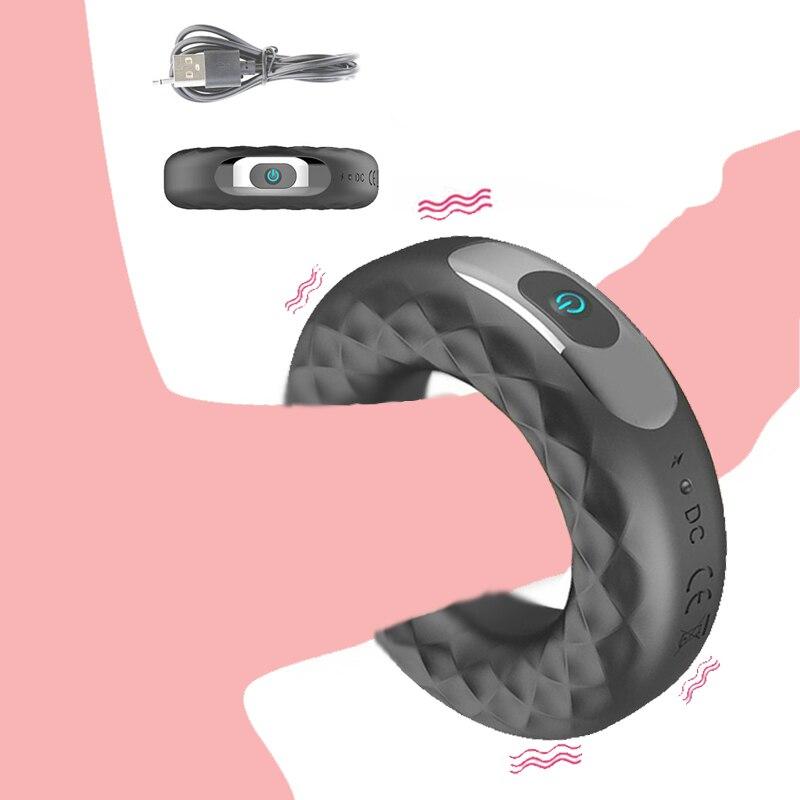 Anillo vibrador para el pene anillo de retraso de eyaculación masturbador masculino USB cargado 10 frecuencia fuerte vibrador anillo de pene juguete sexual para hombres