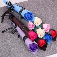 2 pieces plante huile essentielle savon Rose fleur saint valentin cadeau decoration de la maison faux Rose savon fleur anniversaire mariage Decor