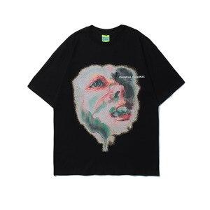 Men T Shirt Harajuku Streetwear Hip Hop High Street Art Image Tshirt New Oversize Cotton Tees Tops Male Couple T-Shirt