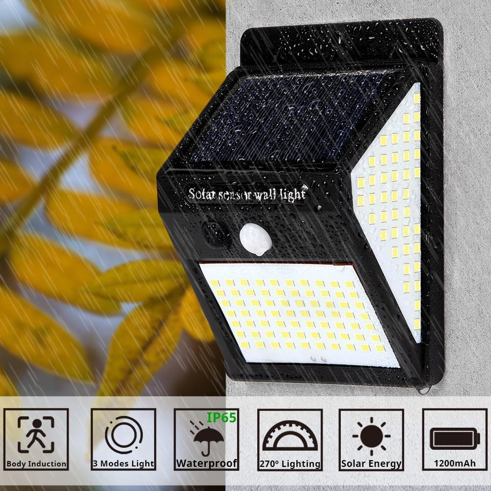 144 100 LED Solar Light PIR Motion Sensor Solar Lamp Waterproof Outdoor Solar Powered Sunlight Light for Garden Yard Path Decor