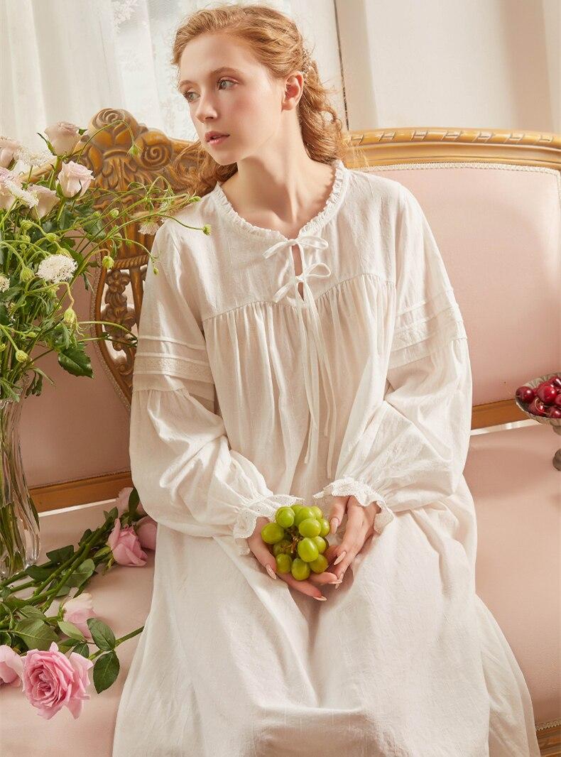 قميص نوم نسائي بأكمام طويلة ، ملابس نوم نسائية ، قميص نوم قطني كلاسيكي عتيق ، خريف