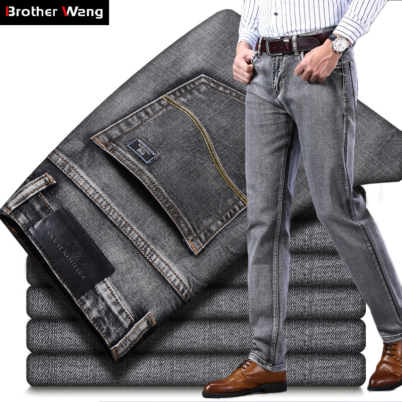 2021 New Men's Stretch Regular Fit Jeans Business Casual Classic Style Fashion Denim Trousers Male Black Blue Gray Pants