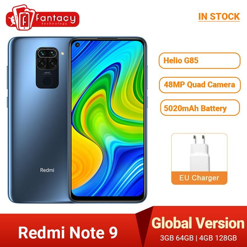 Перейти на Алиэкспресс и купить Глобальная версия Xiaomi Redmi Note 9, 3 Гб оперативной памяти, 64 ГБ Helio G85 48MP AI Quad камера смартфон 5020 мАч