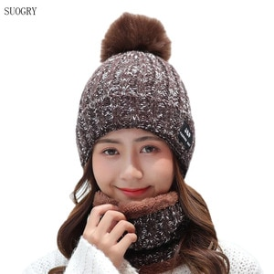 SUOGRY 2019 Winter Hat Scarf Sets For Women Vintage Knit Lady Beanies Cap Girl Outdoor Warm Colorful Skullies Hats Female Rings