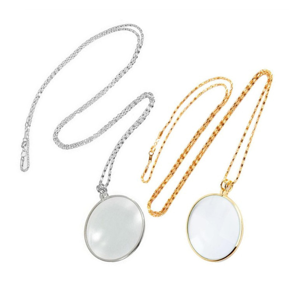 salircon geometric scallop chain necklace charming rhinestone transport new pendant necklace gold silver alloy women jewelry NEW Decorative Monocle Necklace With 5x Magnifier Magnifying Glass Pendant Gold Silver Plated Chain Necklace For Women Jewelry