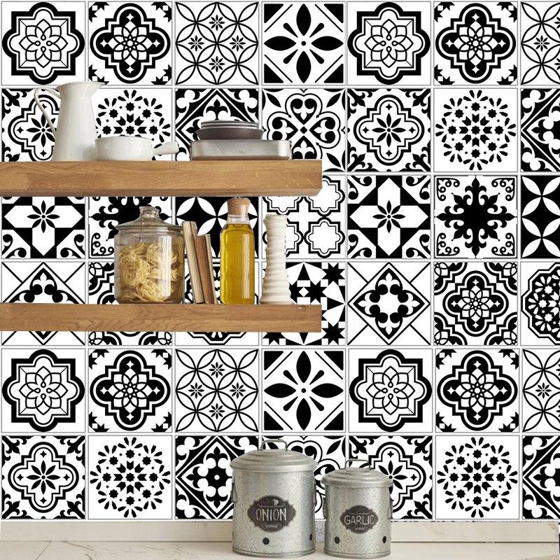 Черно-белые наклейки для плитки для ванной, наклейки для кухонной плитки, декоративные клейкие водонепроницаемые ПВХ наклейки на стену, кухонная линия талии