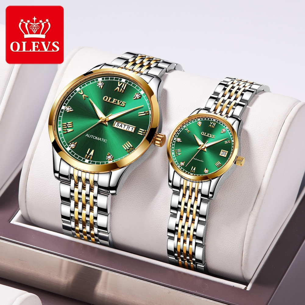 OLEVS Automatic mechanical luxury couple hand expression person  men women waterproof stainless steel watch Valentine's Day gift