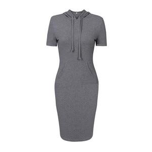 2020 woman dress vestidos de mujer robe summer dress dresses Solid color Hooded Sweater Big pocket Short sleeve plus size