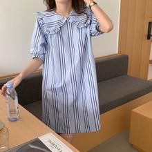 Cute Anti-Aging Doll Collar Vertical Pattern Shirt Dress Korean Style Loose Slim All-Matching Short
