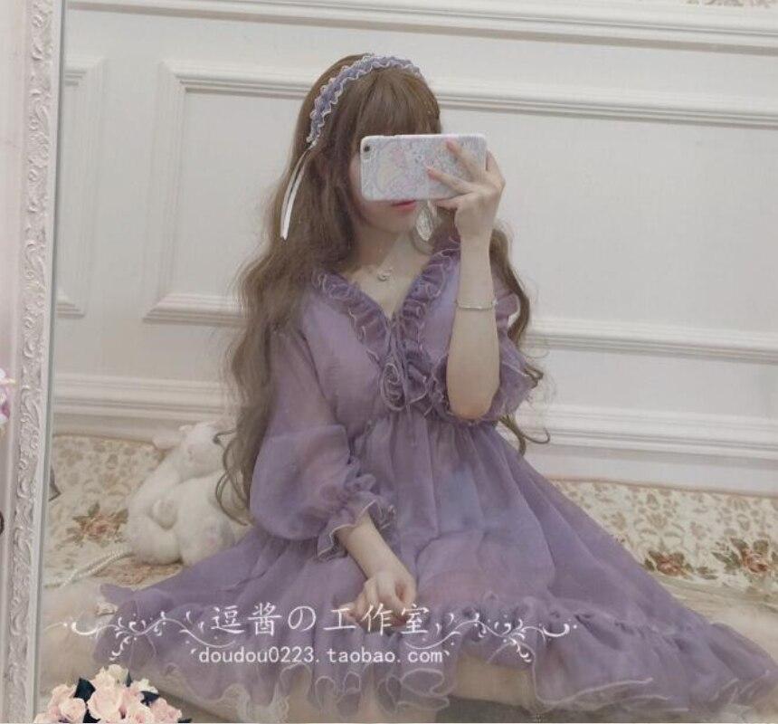 Dulce princesa lolita vestido vintage victoriano vestido kawaii chica gótico encaje volantes puff manga lolita op loli cosplay