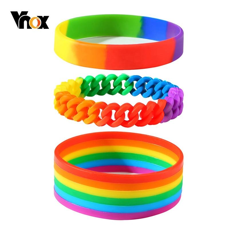 Vnox Soft Rubber Silicone Bangle for Men Women Rainbow Colored Bangle LGBTQ Gay Pride Wristband Jewelry