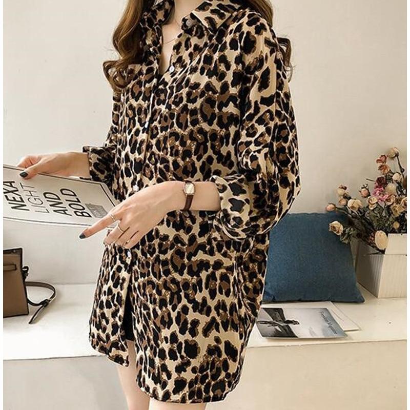 Plus Size 4XL Leopard Print Long Sleeve Shirts Harajuku Womens Tops and Blouses Clothing New Fashion