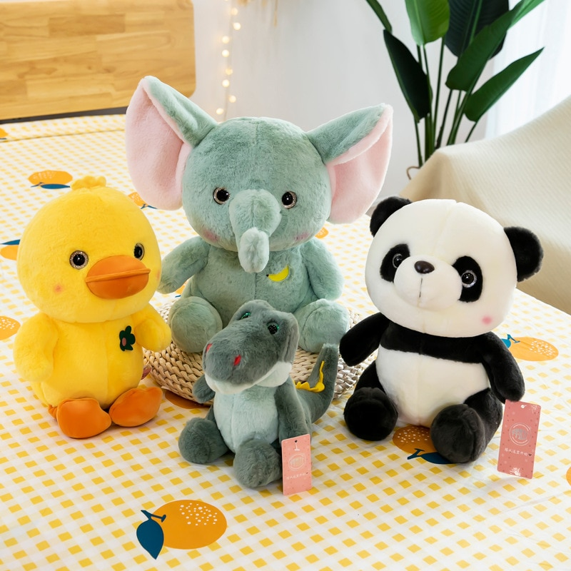 dinosaur animal series many chew toy 2021 New Cartoon Animal Series Plush Toys Stuffed Panda Elephant Dinosaur Plush Doll Plush Toy For Children Gift