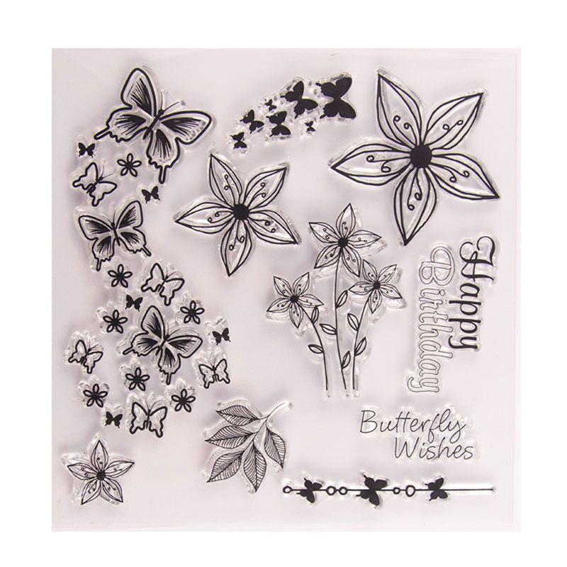 Mariposa y flor sello transparente de silicona sello DIY repujado para álbum de recortes álbum de decoración arte artesanal