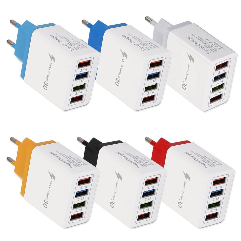 Qc3.0 4 usb cor carga rápida carregador do telefone móvel multi-port us standardtravel carregador