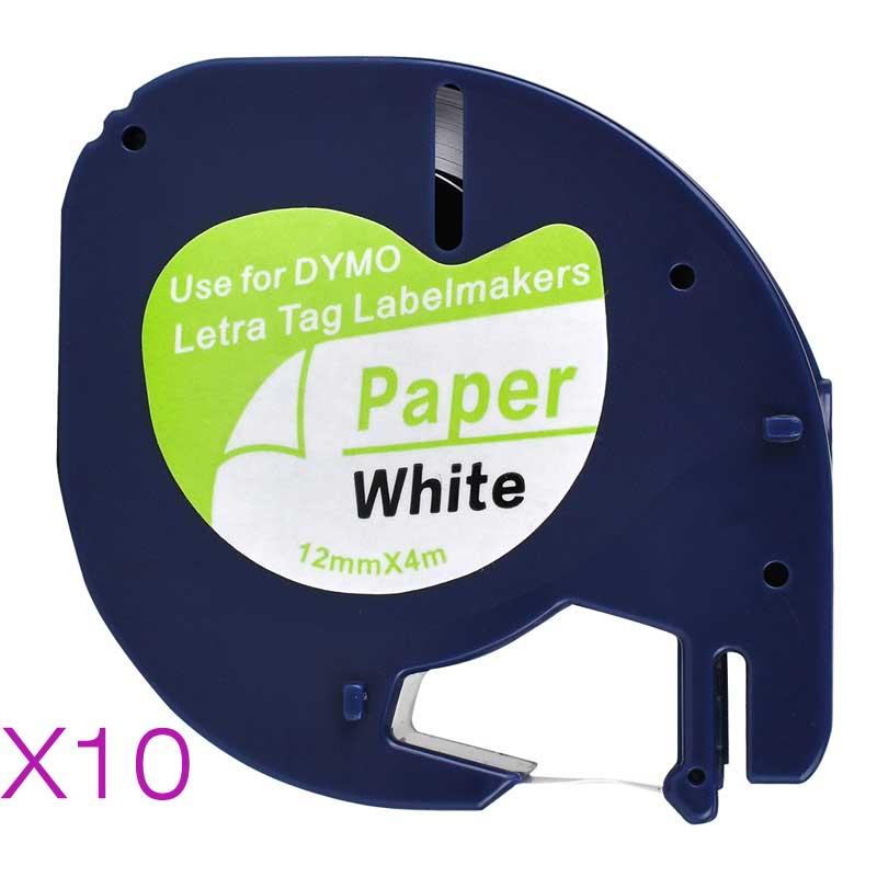 10 Compatible Dymo LetraTag 91200 Black on White (12mm x 4m) Paper Label Tapes for LT-100H, LT-100T, LT-110T, QX 50, XR, XM