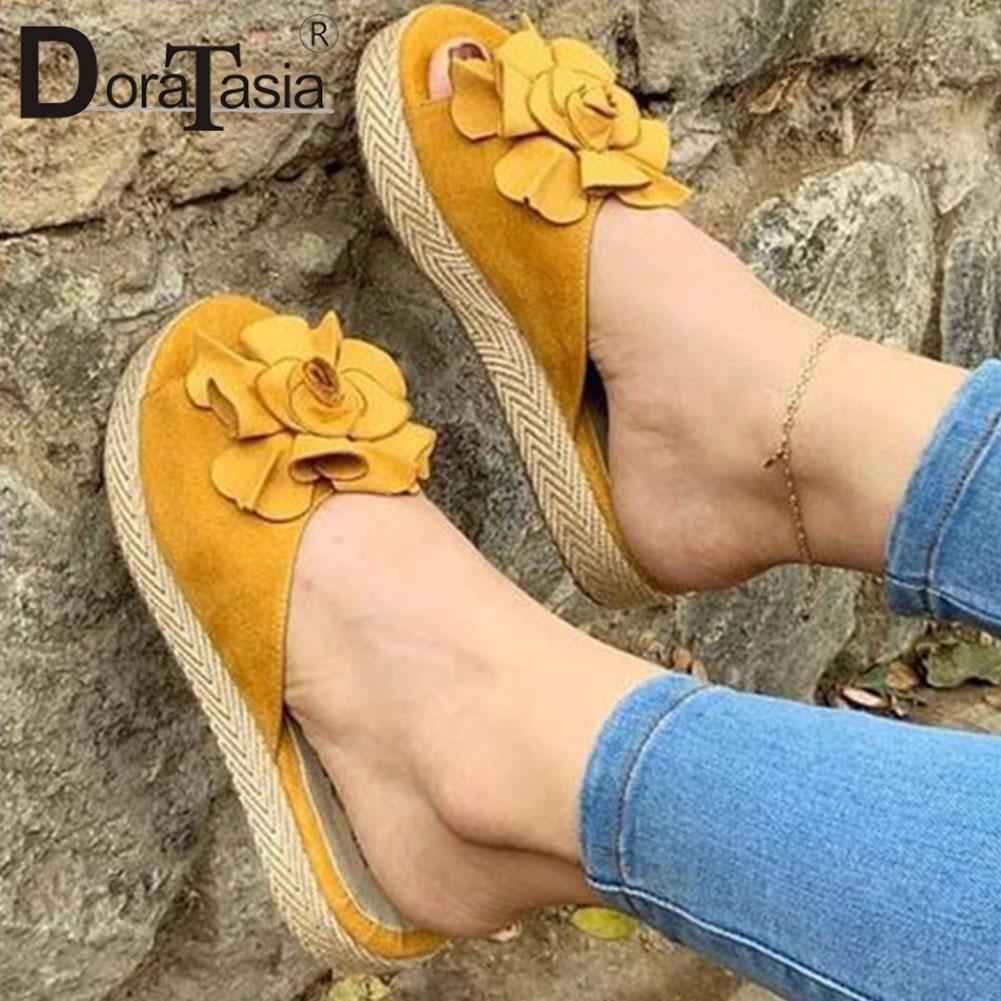 ¡Novedad! Zapatillas DORATASIA Ins sólidas de verano para mujer, zapatillas informales de uso diario con Puntera abierta, zapatos de tacón de paja para mujer