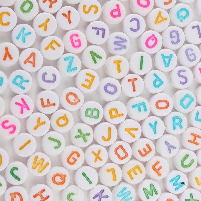 200/300/500 pc misturado multicolorido carta acrílico contas redondas planas contas do alfabeto para fazer jóias artesanal diy pulseira colar