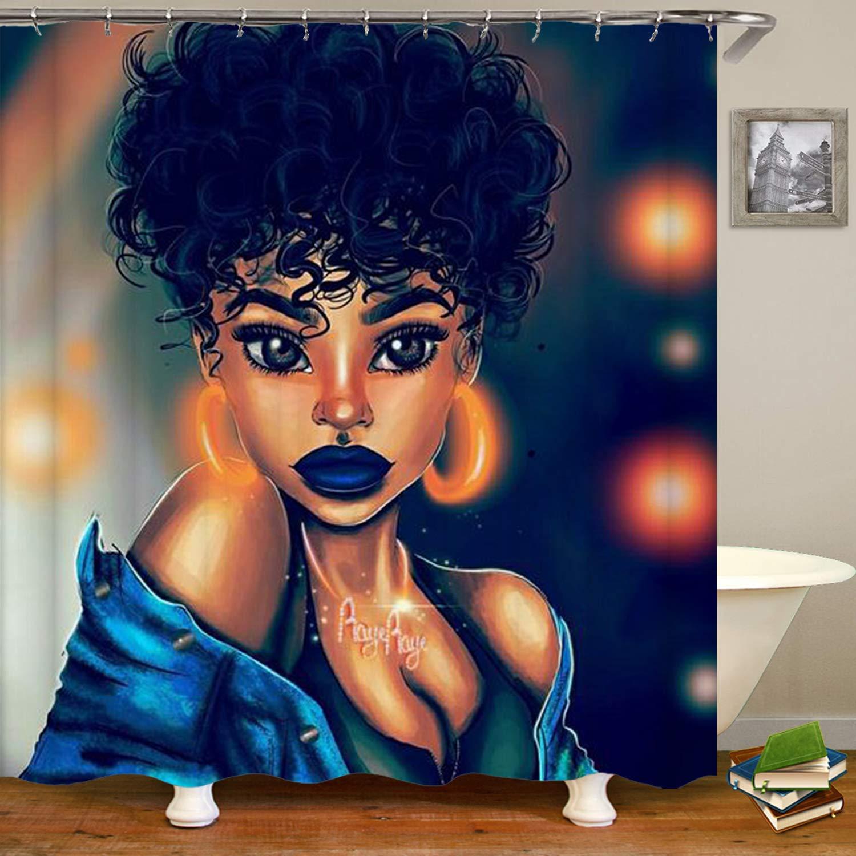 Chica Afro, Niña Americana africana, pendientes ostentosos, cortina de ducha
