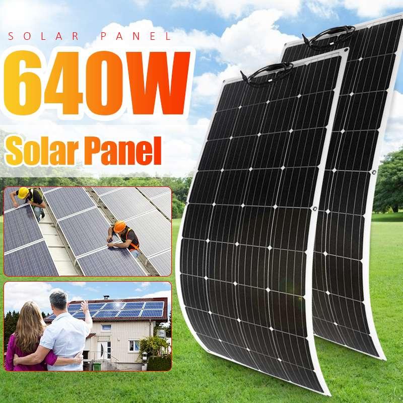 18 فولت لوحة طاقة شمسية 320 واط بطارية شاحن خلية مجموعة الطاقة كاملة PET أحادية السيليكون مرنة 1486*670*3 مللي متر ل 1000 واط