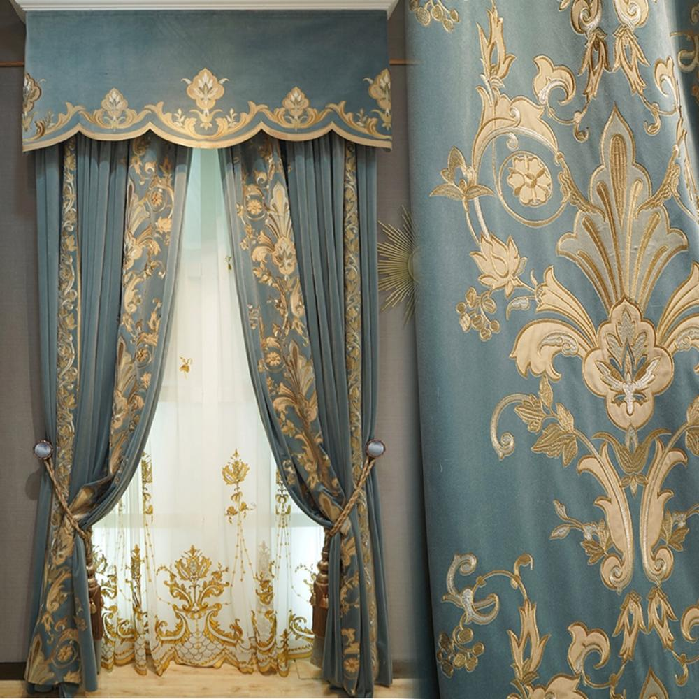 ستائر مخصصة عالية الجودة ، من الفانيلا الفرنسية ، مطرزة مخملية سميكة ، مزدوجة ، قماش أزرق ، ستائر تول ، C128