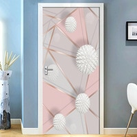 נשלף דלת מדבקות 3D גיאומטרי שיש תפרים עמיד למים סלון חדר שינה דלת טפט קיר מדבקות
