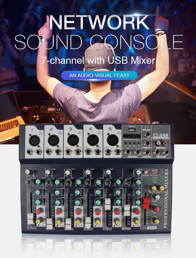 Mezclador de Karaoke Digital USB bluetooth de 7 canales audio de estudio en vivo consola mezcladora micrófono tarjeta de sonido para DJ F7