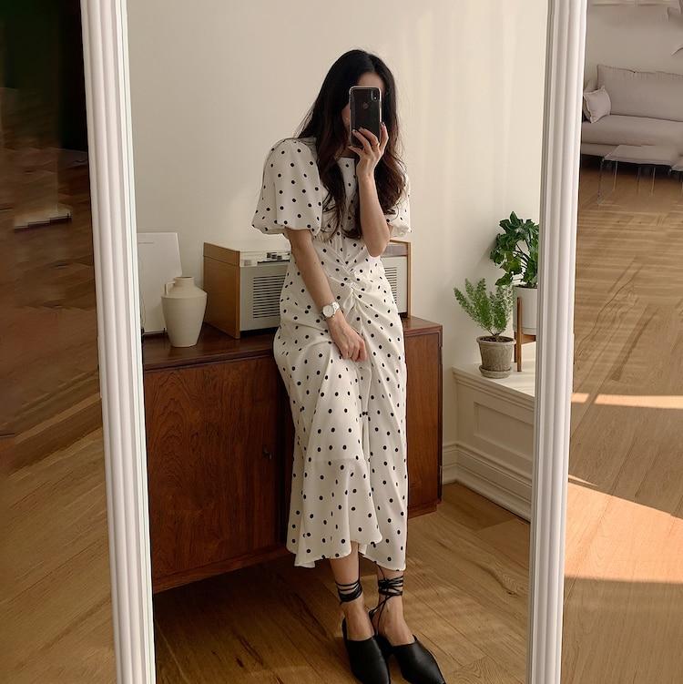 CMAZ 2021 Summer Long Polka Dot Casual Dresses Black White O-Neck Sundress Vacation Elegant Boho Party Clothes 58031#