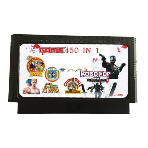 450 em 1 cartucho de jogo de 60 pinos para o console de jogo de 8 bits com nijiaturtle, dk 1/2/3/jr, homem-bomba, mortalkombat 4, etc.