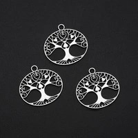 12pcslots 23x24mm antique silver plated tree of life charm alloy metal pendant for handmade diy tibetan jewelry making findings