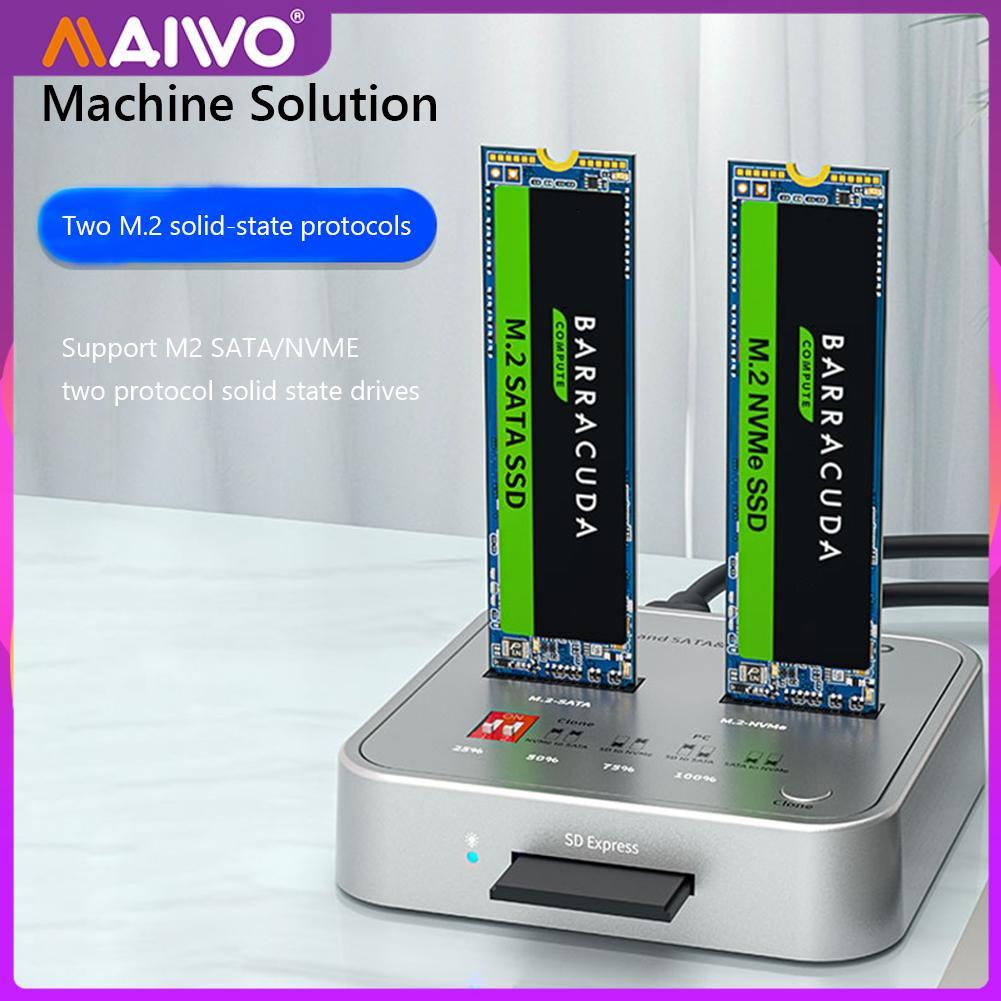 MAIWO K3016CL USB C to NVMe SATA M.2 SSD Secure Digital Express 7.1 7.0 Docking Station Supports Offline Clone Duplicator