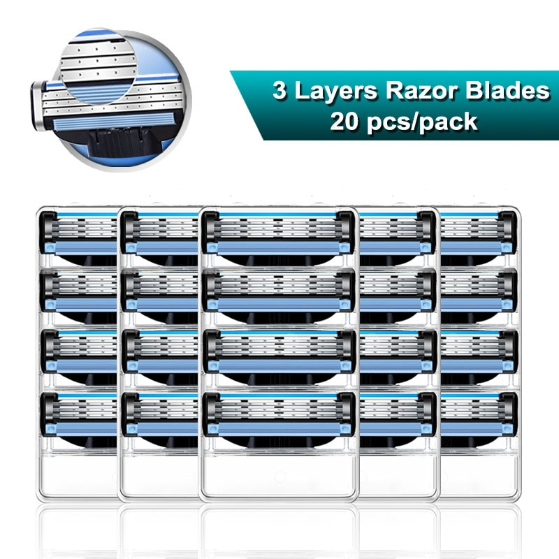 Shaving Razor Blades For Men 3 Layers Cassettes Fit Gillette Mach 3 Turbo Sensitive Manual Razor Replaceable Heads 20pcs/pack
