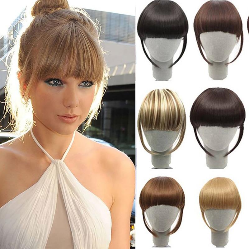 Flequillo falso Buqi pinza con flecos falsos flequillo negro marrón Rubio para mujeres adultas accesorios para el cabello