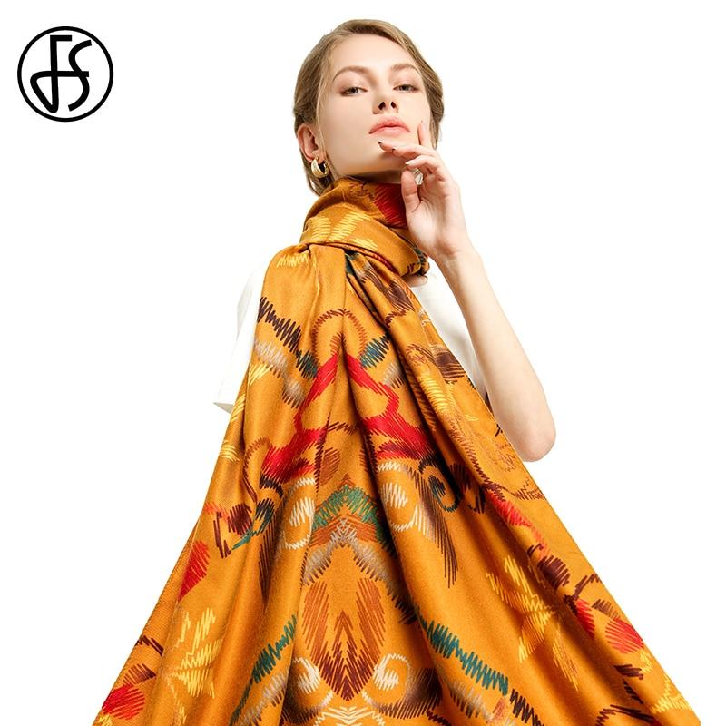 FS Otoño Invierno mujer algodón doble lados estampado Streetwear largo chal manta bufanda envuelve Tippet Pashmina Echarpe para mujer