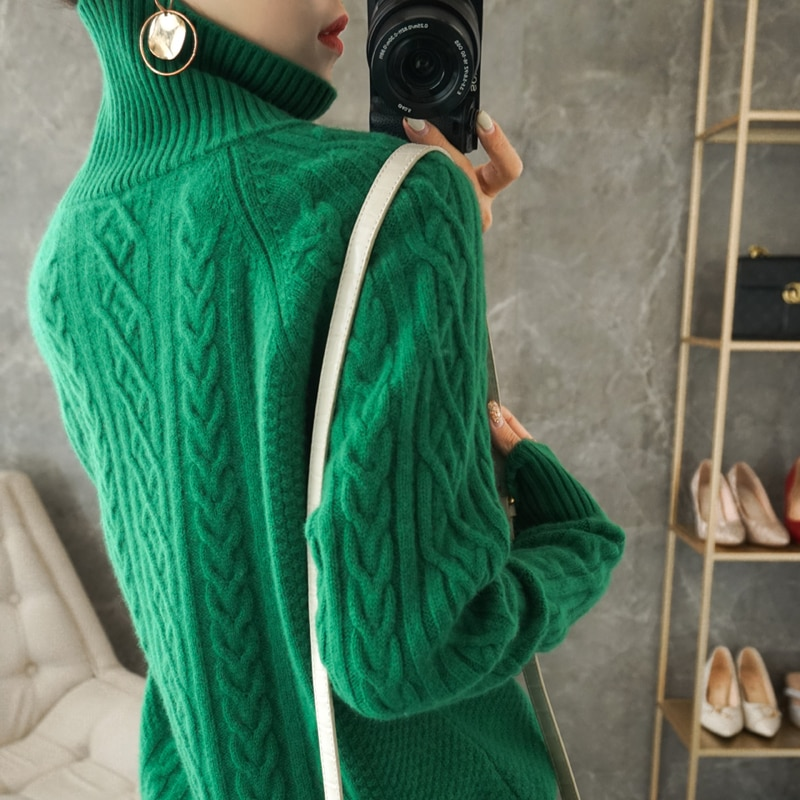 2021 autumn and winter new woolen sweater women loose thick knitted sweater women enlarge