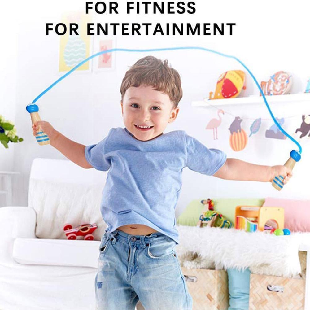 Adorável dos Desenhos Alça de Madeira Corda de Fitness Crianças Pular Corda Animados Durável Estudantes Exer Esportes Prática U3w3