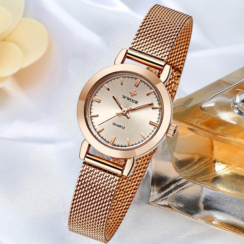 WWOOR Famous Brand Watch For Women Top Luxury Rose Gold Women Bracelet Watch Ladies Fashion Dress Qu